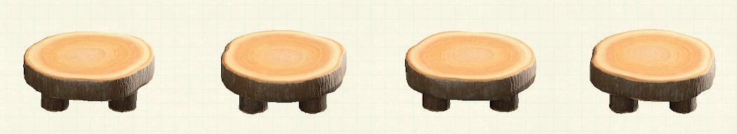 あつ森の丸太のラウンドテーブルのリメイクダークウッドパターン