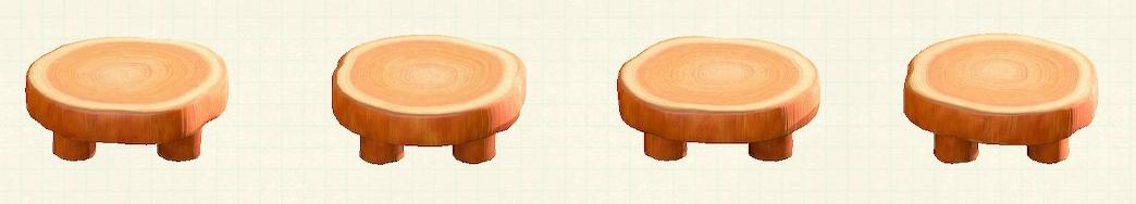 あつ森の丸太のラウンドテーブルのリメイクオレンジウッドパターン