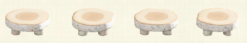 あつ森の丸太のラウンドテーブルのリメイク白樺パターン