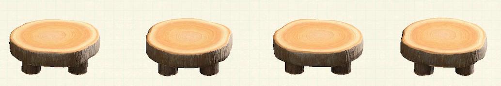 あつ森の丸太のラウンドテーブルのリメイクなしパターン