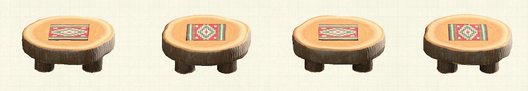 あつ森の丸太のラウンドテーブルのリメイクキリムパターン