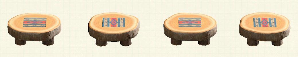 あつ森の丸太のラウンドテーブルのリメイクチマヨパターン