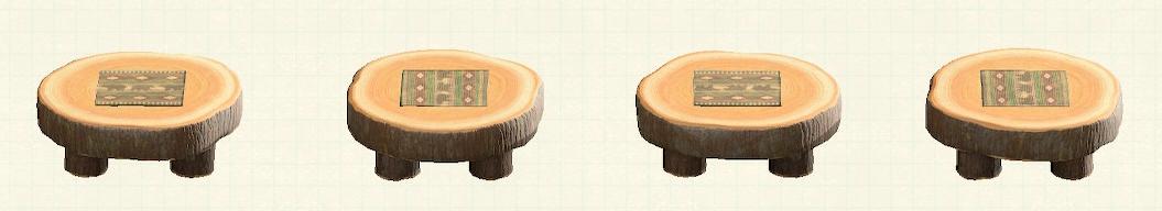 あつ森の丸太のラウンドテーブルのリメイククマパターン