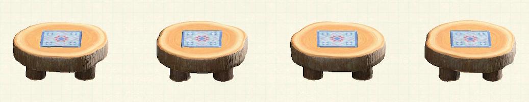 あつ森の丸太のラウンドテーブルのリメイクキルトパターン