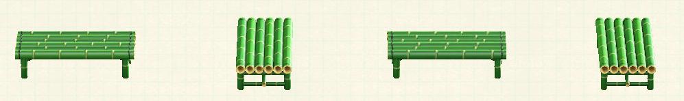 あつ森の竹のベンチのリメイク青竹パターン