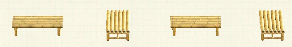 あつ森の竹のベンチのリメイク枯竹パターン