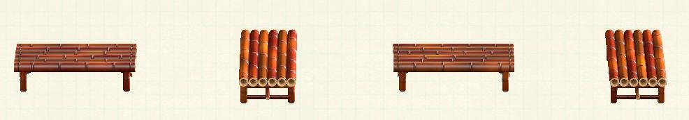 あつ森の竹のベンチのリメイク煤竹パターン