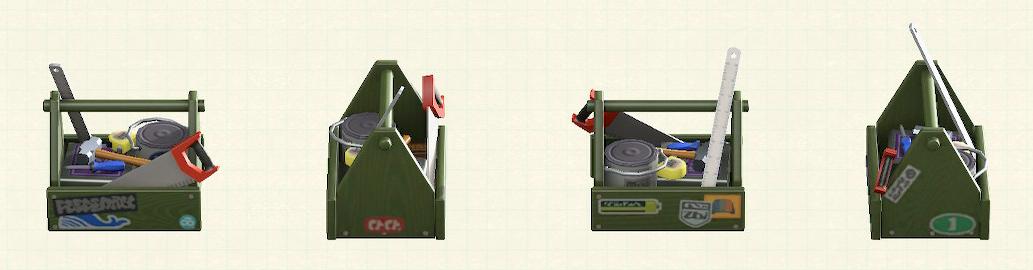 あつ森の木製の工具箱のリメイクカーキパターン