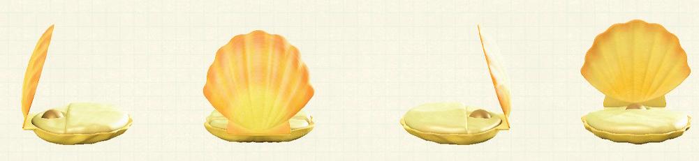 あつ森の貝殻のベッドのリメイクイエローパターン