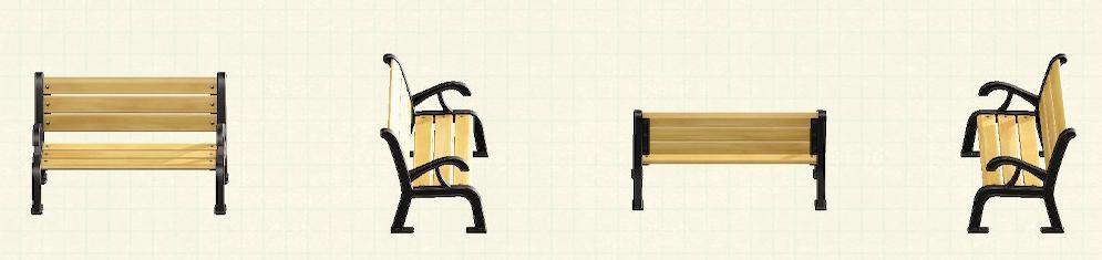 あつ森のガーデンベンチのリメイクブラックパターン