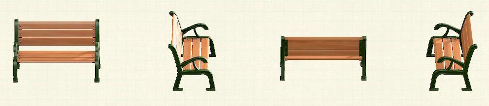 あつ森のガーデンベンチのリメイクグリーンパターン