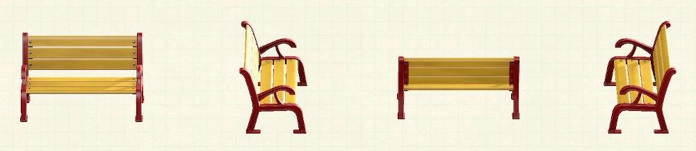 あつ森のガーデンベンチのリメイクレッドパターン