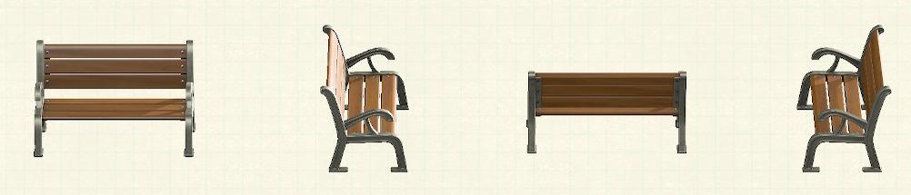 あつ森のガーデンベンチのリメイクシルバーパターン