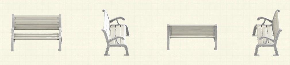 あつ森のガーデンベンチのリメイクホワイトパターン