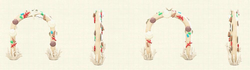 あつ森の貝殻のアーチのリメイクホワイトパターン