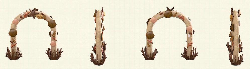 あつ森の貝殻のアーチのリメイクブラウンパターン