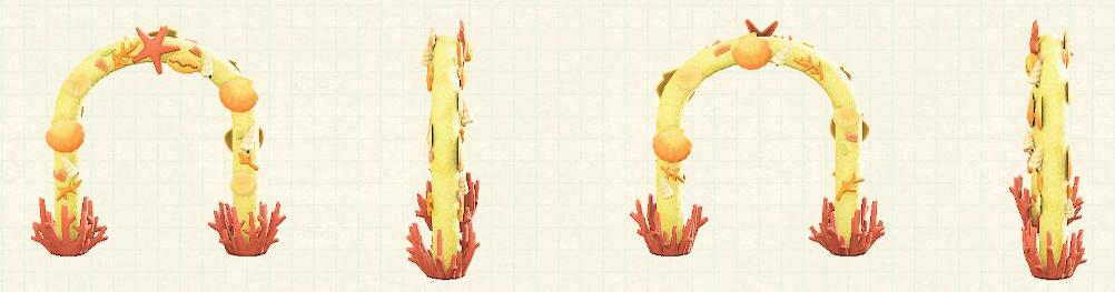 あつ森の貝殻のアーチのリメイクイエローパターン
