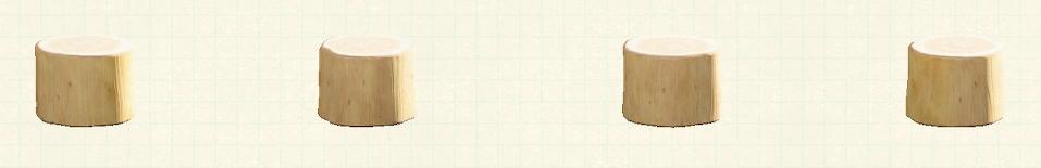 あつ森の丸太のスツールのリメイクホワイトウッドパターン