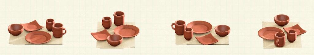 あつ森の素焼きの食器のリメイク素焼きパターン