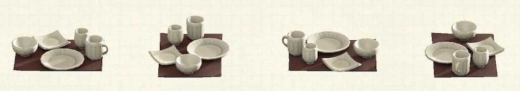 あつ森の素焼きの食器のリメイク粉引パターン
