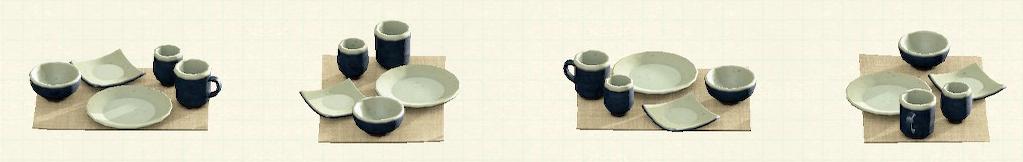 あつ森の素焼きの食器のリメイク紺パターン