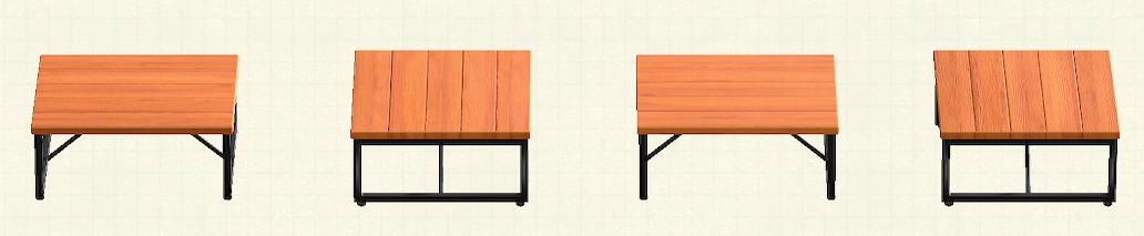 あつ森のアイアンウッドテーブルのリメイクチークパターン