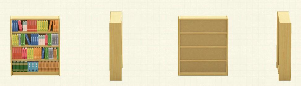 あつ森の木製の本棚のリメイクライトブラウンパターン
