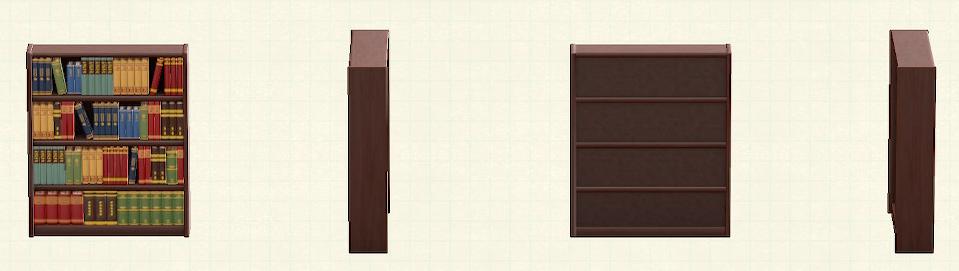 あつ森の木製の本棚のリメイクダークブラウンパターン
