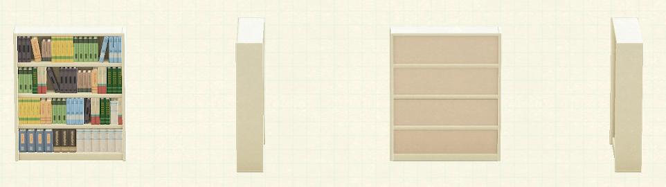 あつ森の木製の本棚のリメイクホワイトパターン