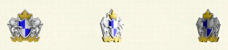 あつ森のエンブレムなドアプレートのリメイクシルバー&ブルーパターン