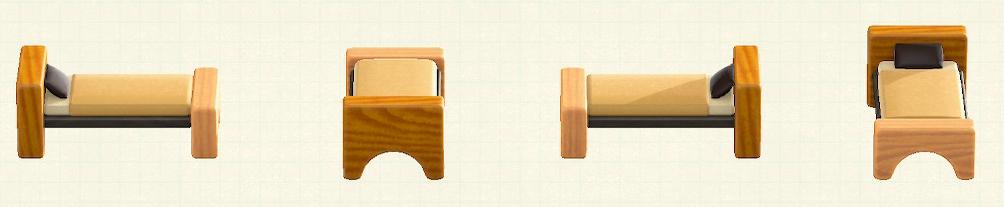 あつ森のつみきベッドのリメイクミックスウッドパターン