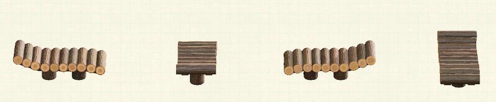 あつ森の丸太のガーデンベッドのリメイクダークウッドパターン