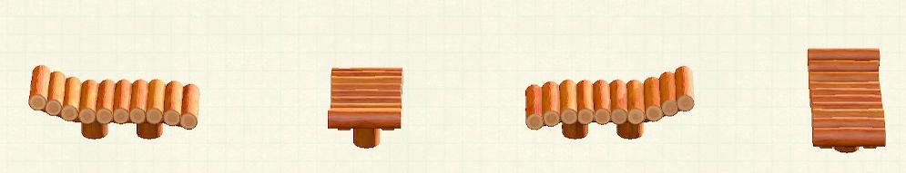 あつ森の丸太のガーデンベッドのリメイクオレンジウッドパターン
