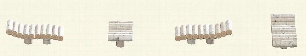 あつ森の丸太のかざりだなのリメイク白樺パターン
