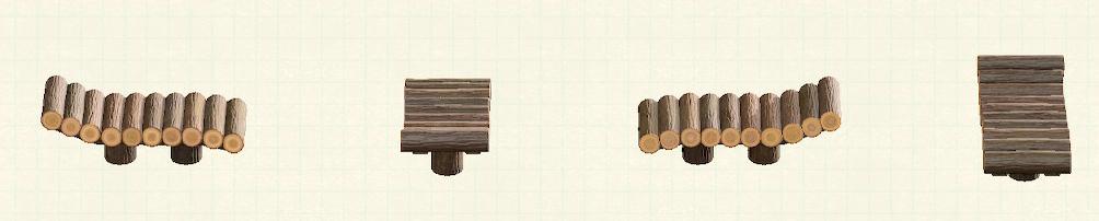 あつ森の丸太のガーデンベッドのリメイクなしパターン