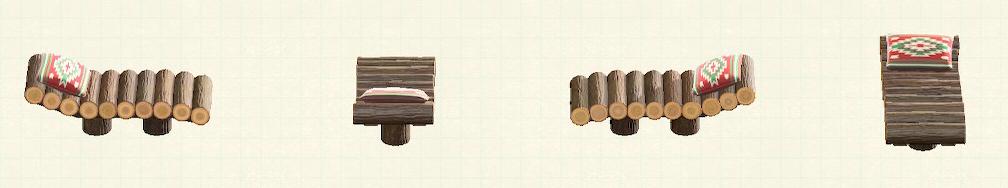 あつ森の丸太のガーデンベッドのリメイクキリムパターン