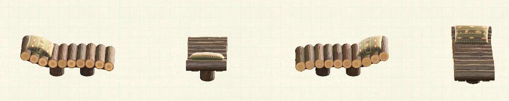 あつ森の丸太のガーデンベッドのリメイククマパターン