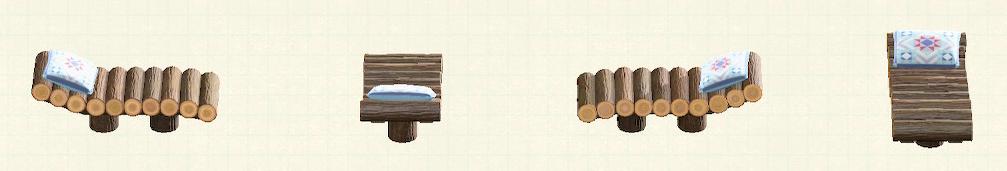 あつ森の丸太のガーデンベッドのリメイクキルトパターン