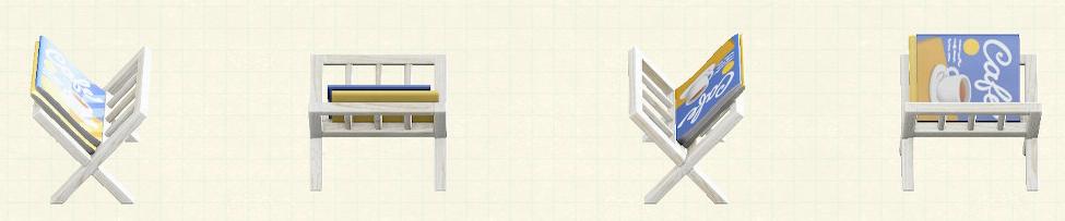 あつ森のマガジンラックのリメイクホワイトパターン