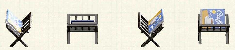 あつ森のマガジンラックのリメイクブラックパターン