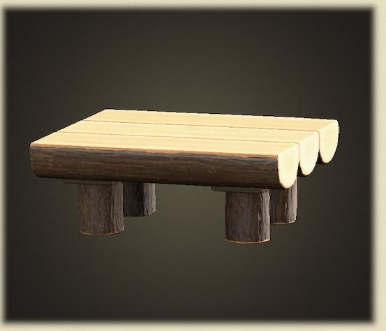 あつ森の丸太のダイニングテーブル