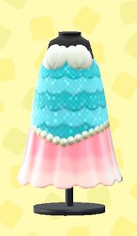 あつ森のマーメイドなおさかなドレスのライトブルー