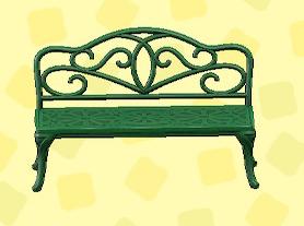 あつ森のアイアンガーデンベンチのグリーン