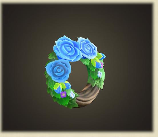 あつ森の青いバラのリース