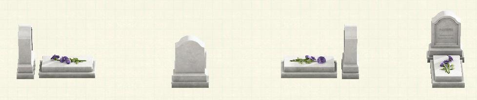 あつ森の洋風の墓石のリメイクホワイトパターン