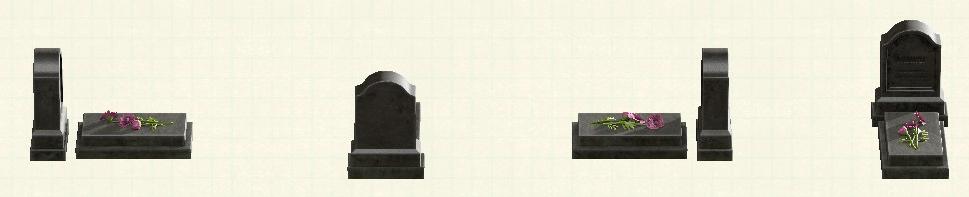 あつ森の洋風の墓石のリメイクブラックパターン