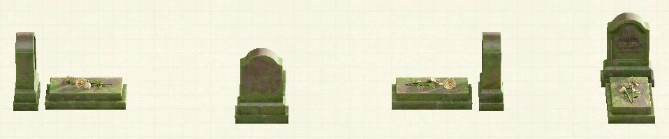 あつ森の洋風の墓石のリメイク苔石パターン