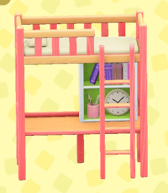 あつ森のベッドデスクのピンク