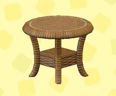 あつ森のラタンのサイドテーブルのブラウン