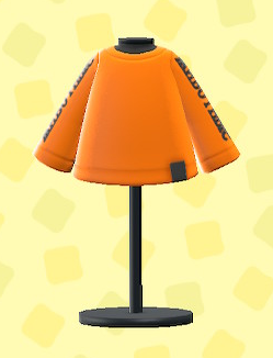 あつ森のアームプリントTシャツのオレンジ